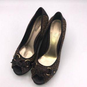 Sperry Top Sider Wedge Brown Tweed Heels. 8M